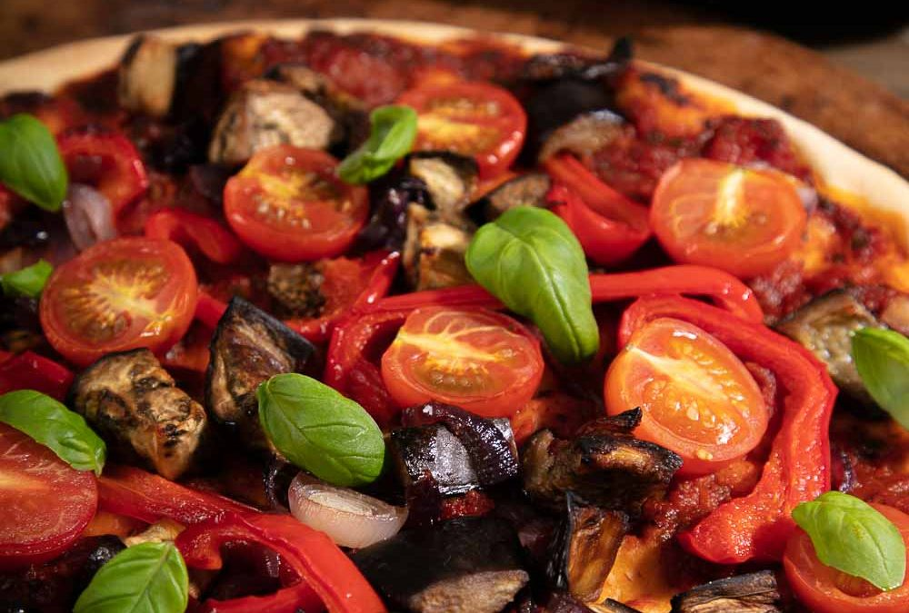 Aubergine Pizza with Peppers and Tomatoes