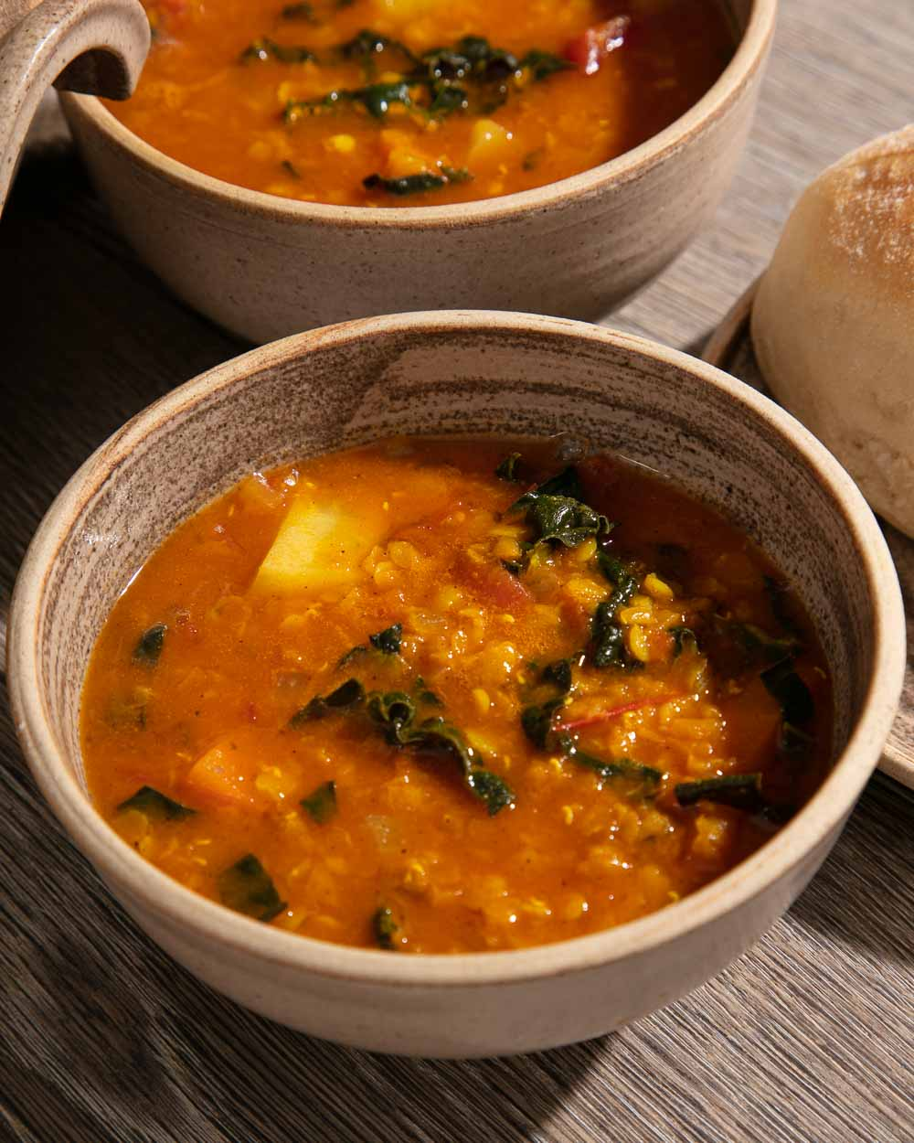 A bowl of lentil and winter vegetable soup.