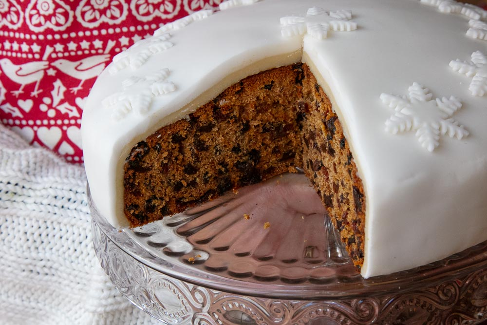 Iced Vegan Christmas cake.