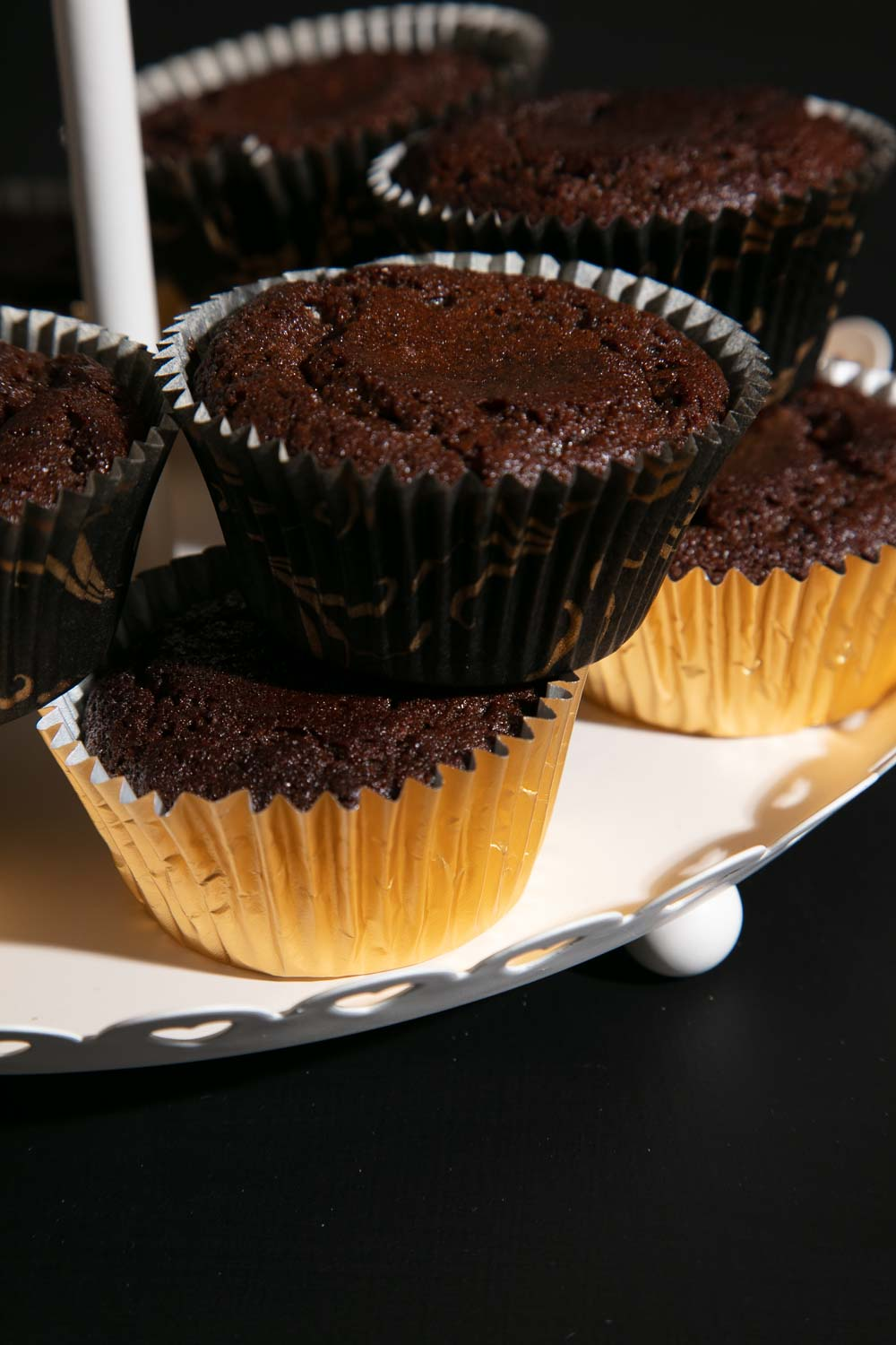 Ginger Muffins in gold cake cases.