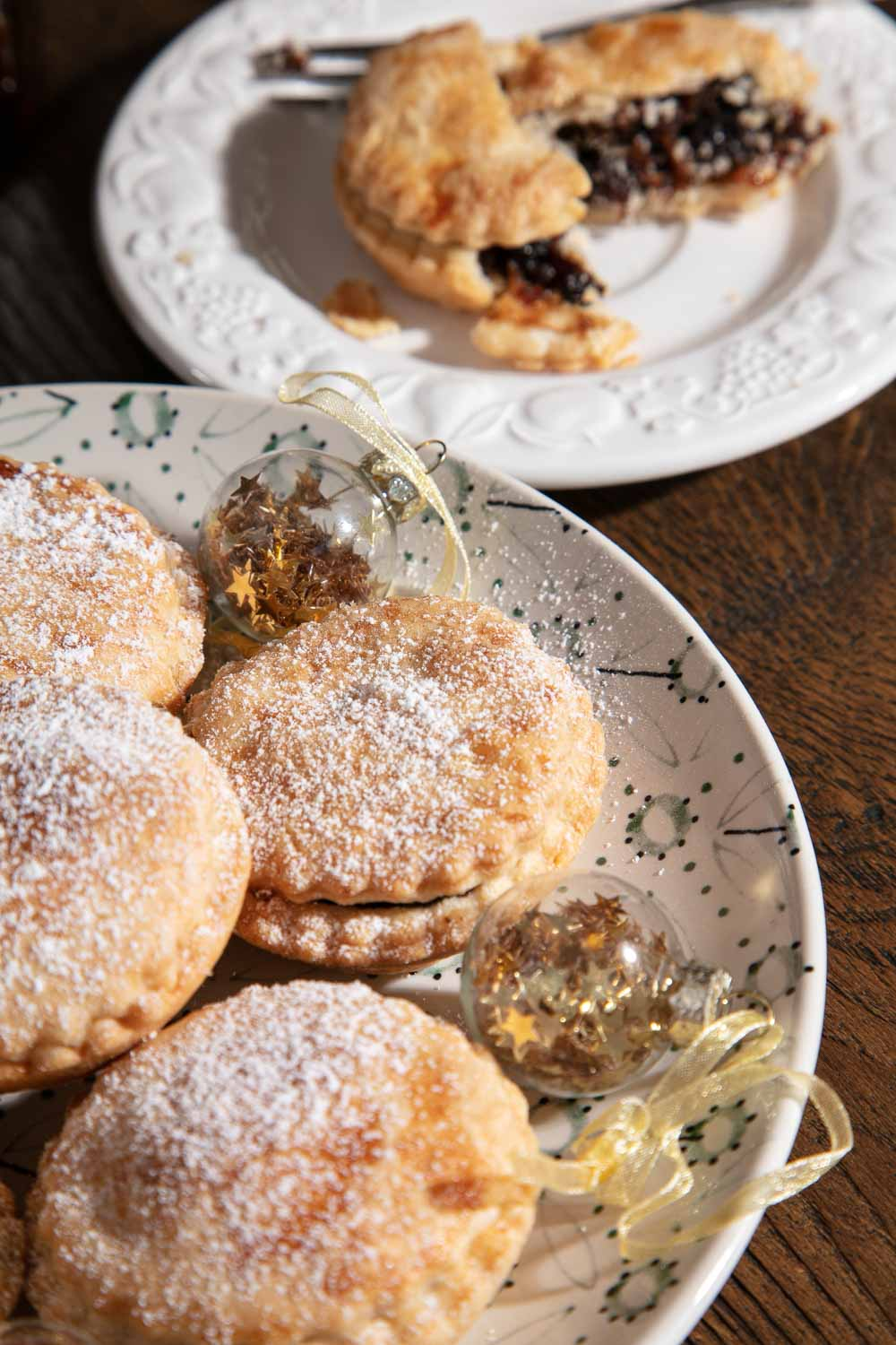 Vegan Mince Pies on a festive plate.