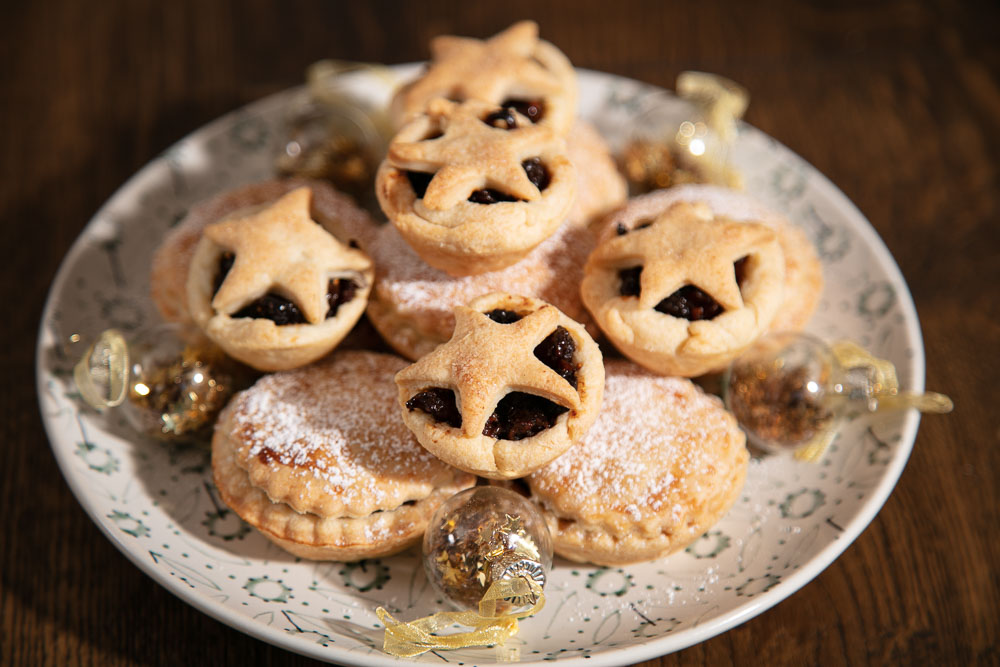 Mini Mince pies topped with pastry stars.