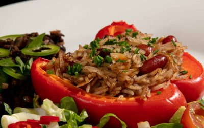 Vegan Stuffed Peppers with Spiced Rice