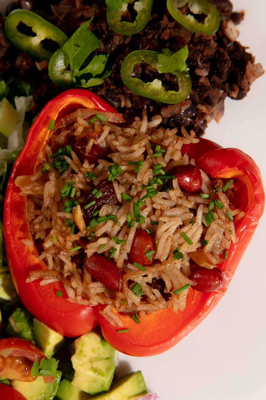 Rice stuffed red bell pepper.