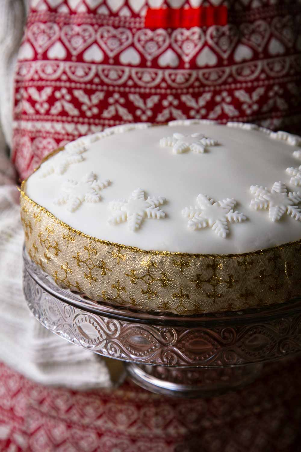 Traditional Vegan Christmas Cake on a cake stand.