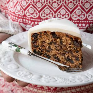 A slice of vegan Christmas cake.