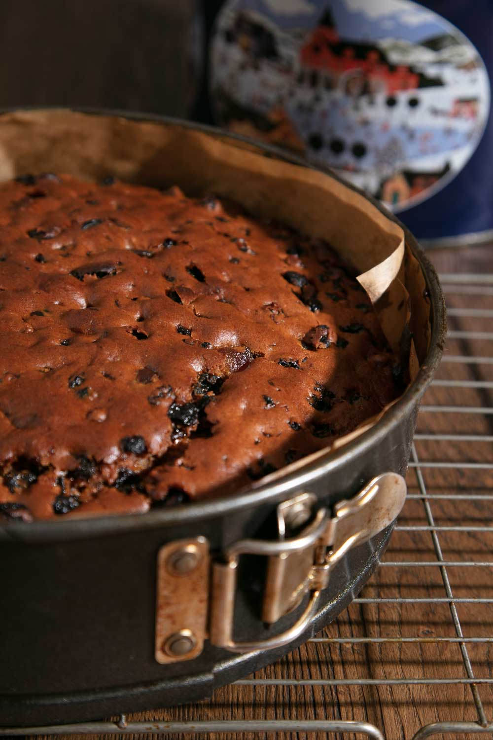 Vegan fruit cake in a springform tin.