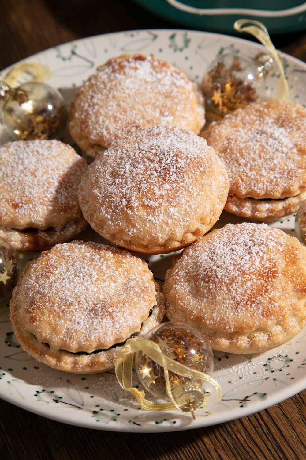 Vegan Mince Pies with Christmas Baubles.