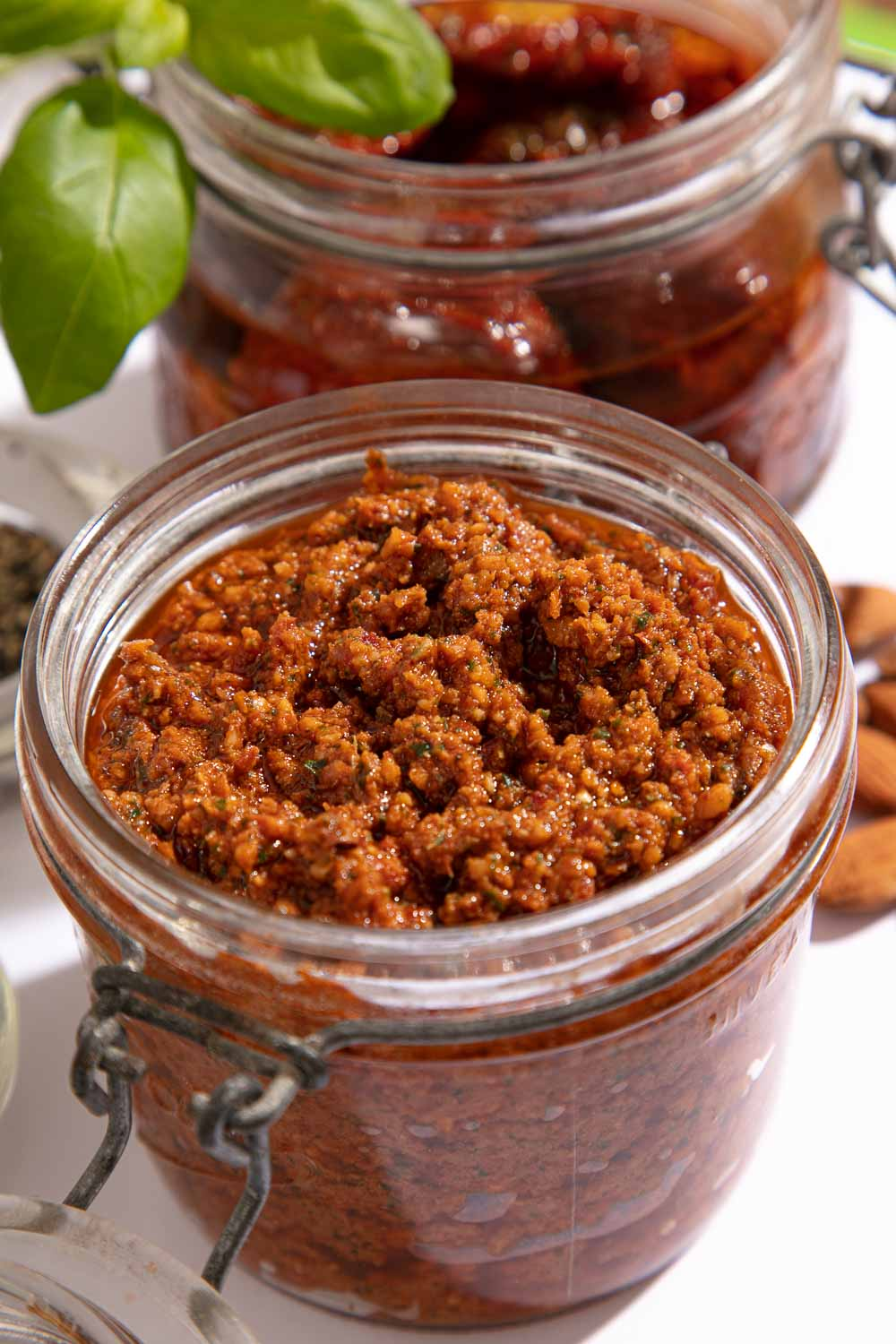 A jar of homemade red pesto.
