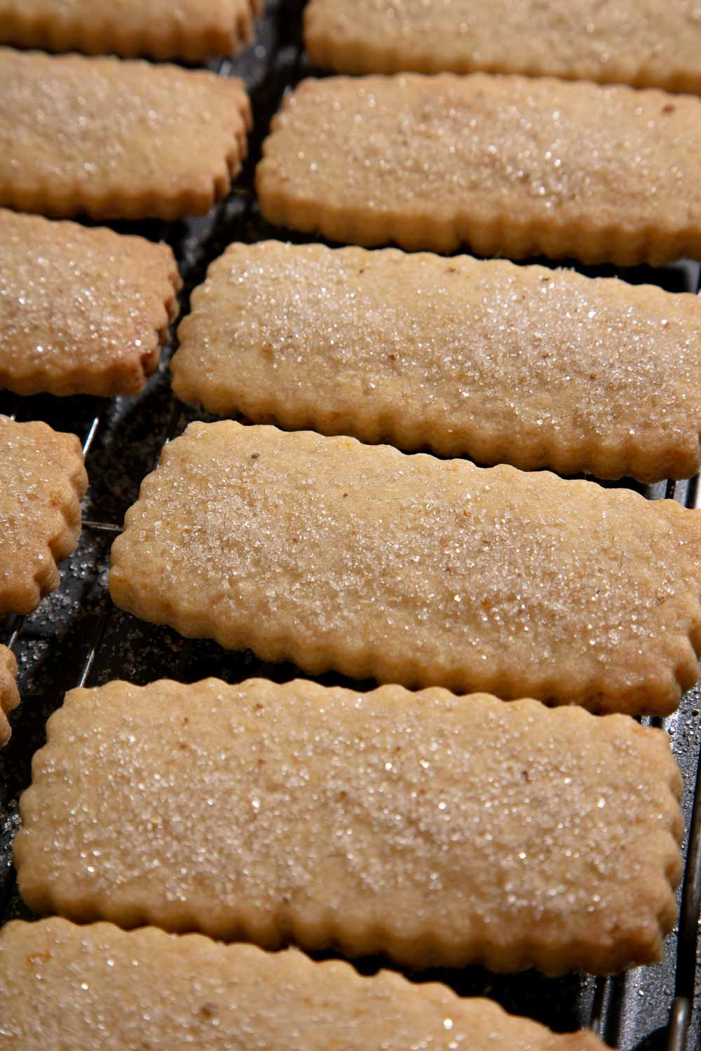 Shortbread fingers cooling on a wire rack.