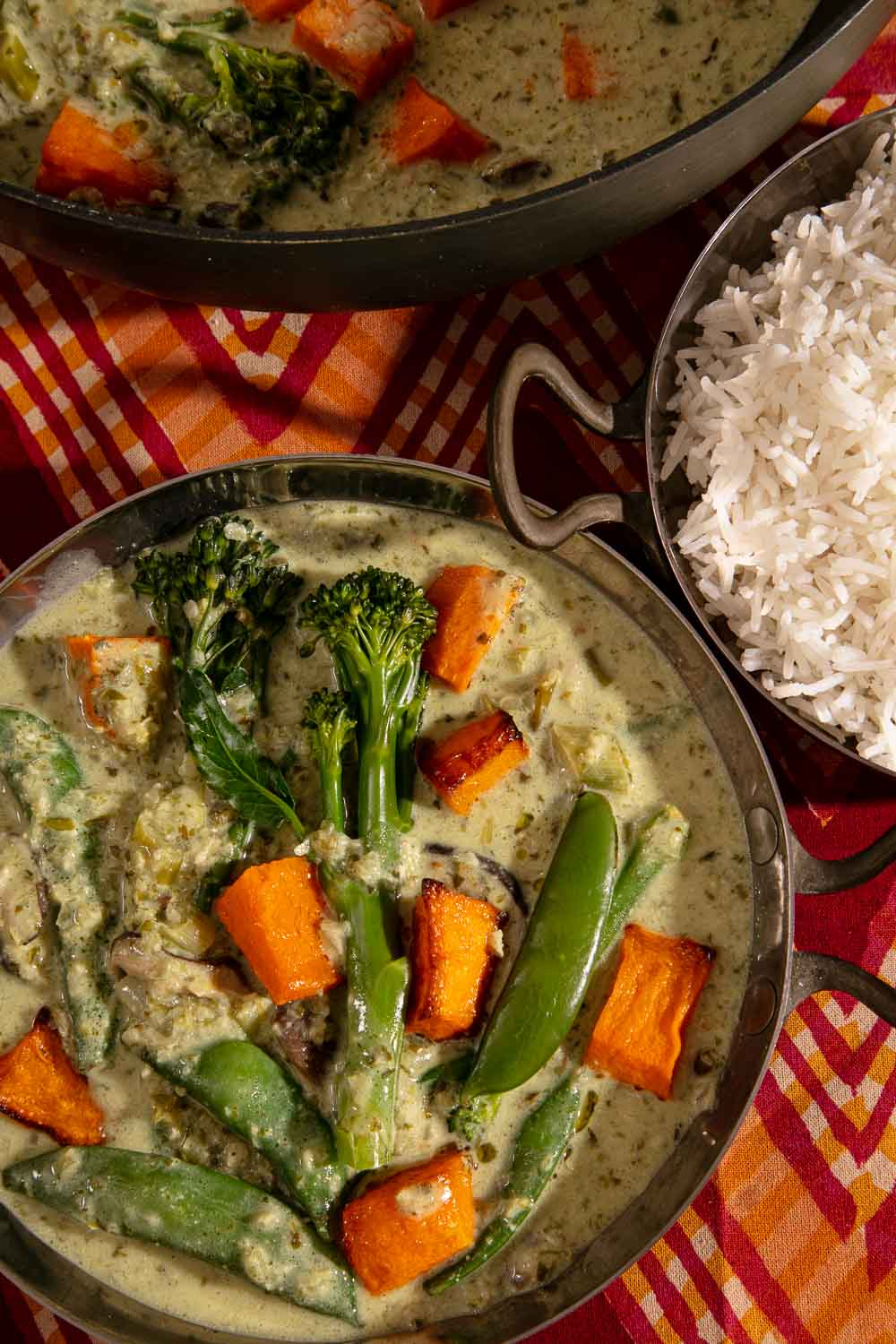 Vegan Thai Green Curry served with rice.