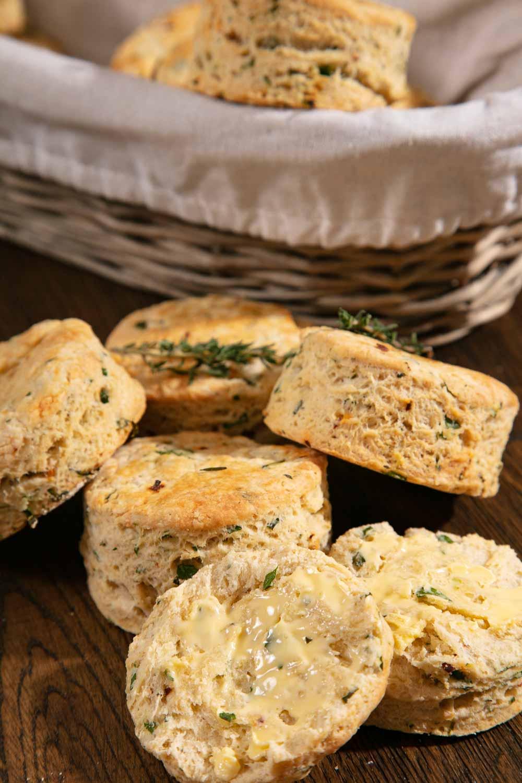 Buttered vegan savoury scones.
