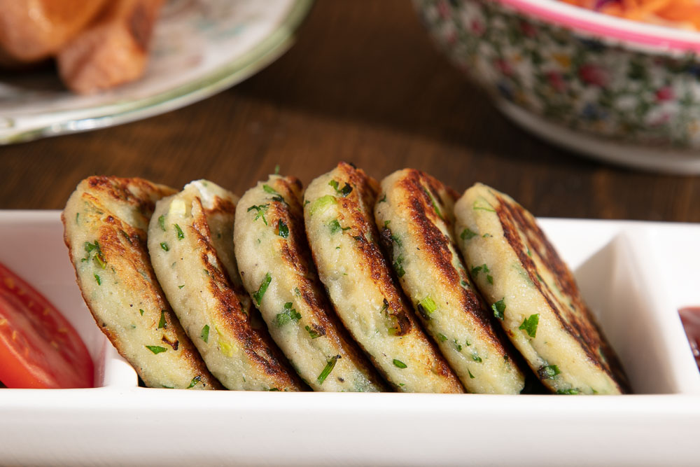 Mashed Potato cakes with chives and spring onions.