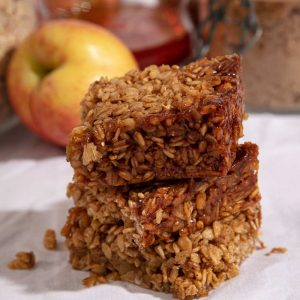 A stack of three slices of flapjack.
